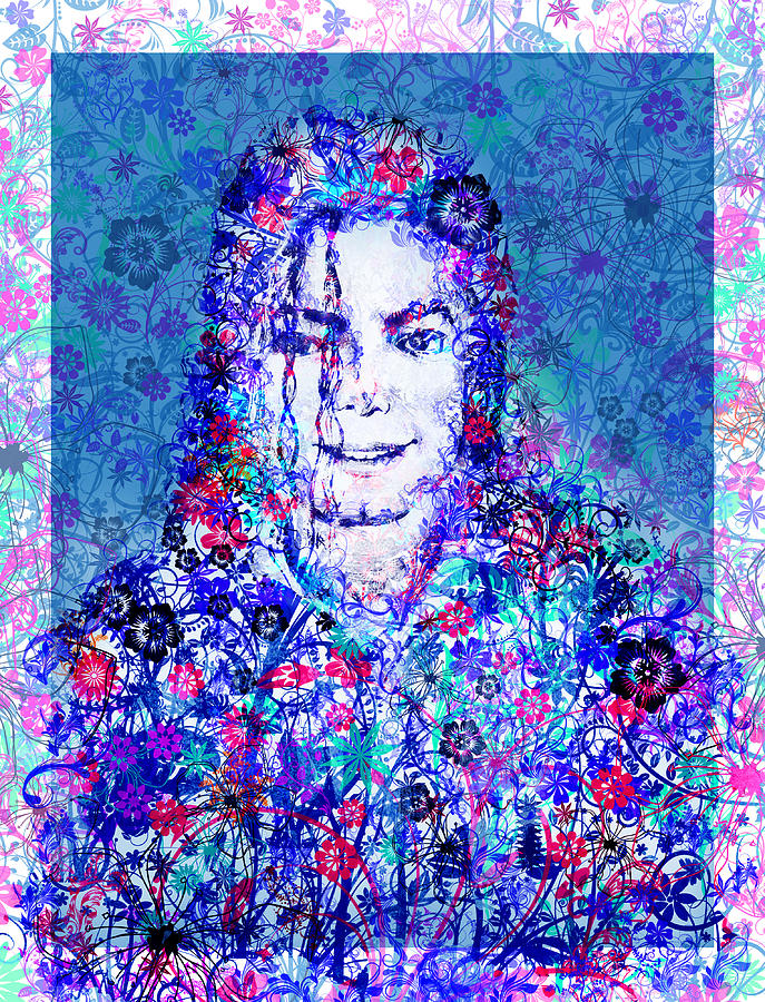 Michael Jackson Painting - Mj Floral Version 2 by Bekim Art