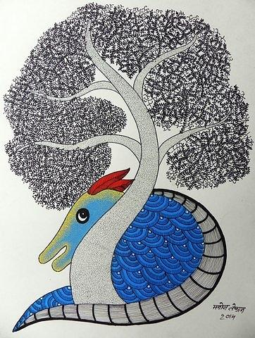 Indian Tribal Art Painting - Mkt 148 by Manoj Kumar Tekam