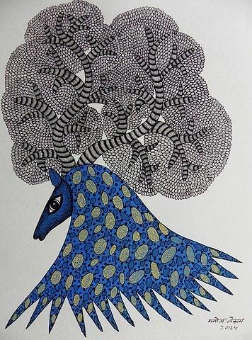 Indian Tribal Art Painting - Mkt 150 by Manoj Kumar Tekam
