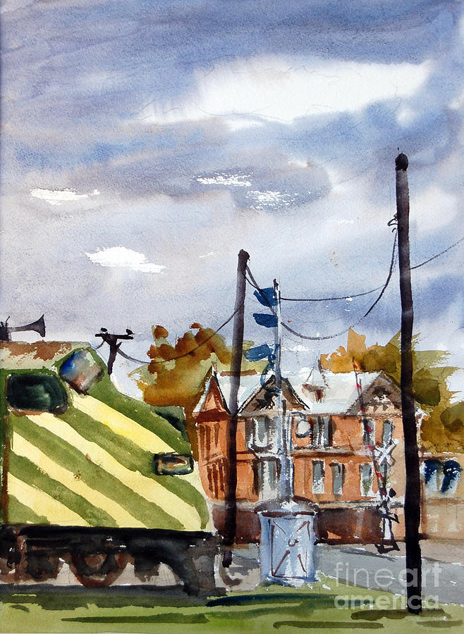 Cloudy Day Painting - Mkt Train And Travellers Hotel Denison Tx by Ron Stephens