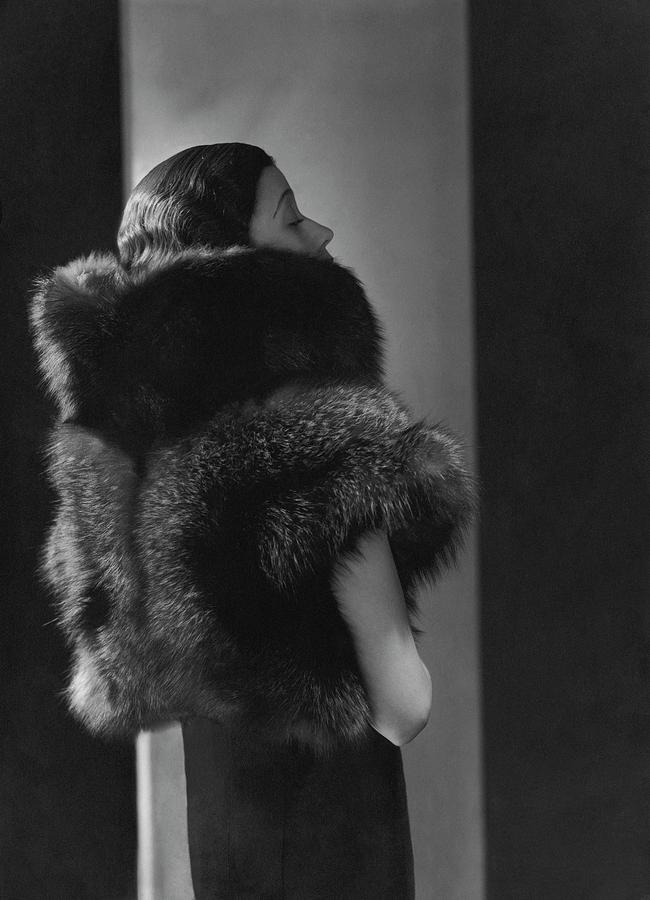 Mlle. Koopman Wearing A Fur Jacket Photograph by George Hoyningen-Huene