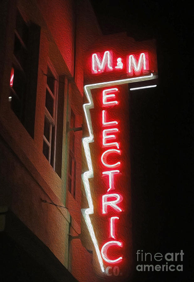 Pomona Photograph - Mm Electric Sign At Night by Gregory Dyer