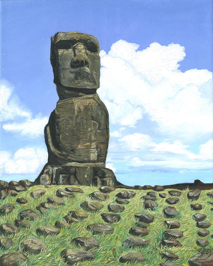 Easter Island Painting - Moai by Brent Charbonneau
