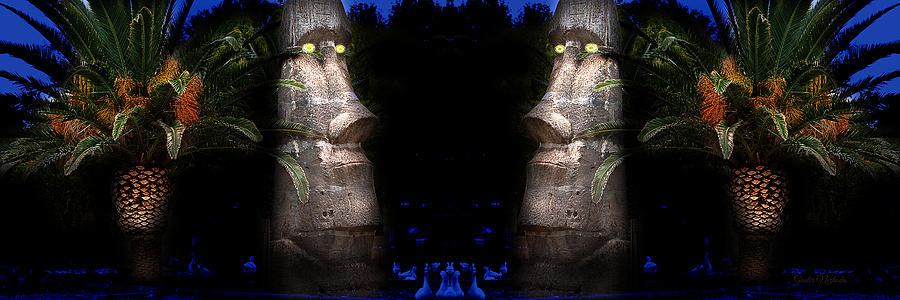 Moai; Stardust; Las Vegas; Sunset; Park; Statue; Tiki; Nezhoda; Stone; Rock Photograph - Moai Silver by Gunter Nezhoda