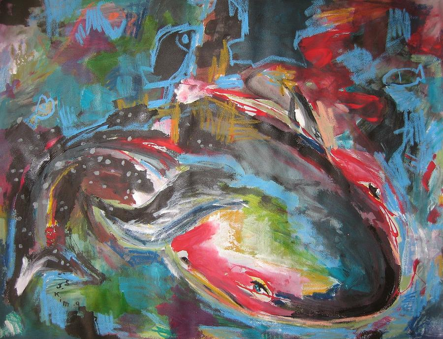 Original Painting - Mobie Joe The Whale-original Abstract Whale Painting Acrylic Blue Red Green by Seon-Jeong Kim