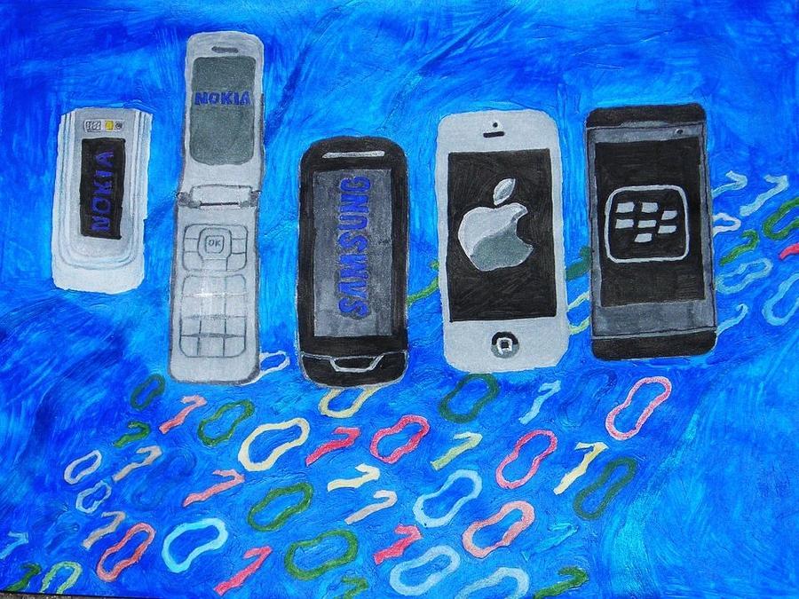 Cell Mixed Media - Mobile Evolution by Melissa Nowacki