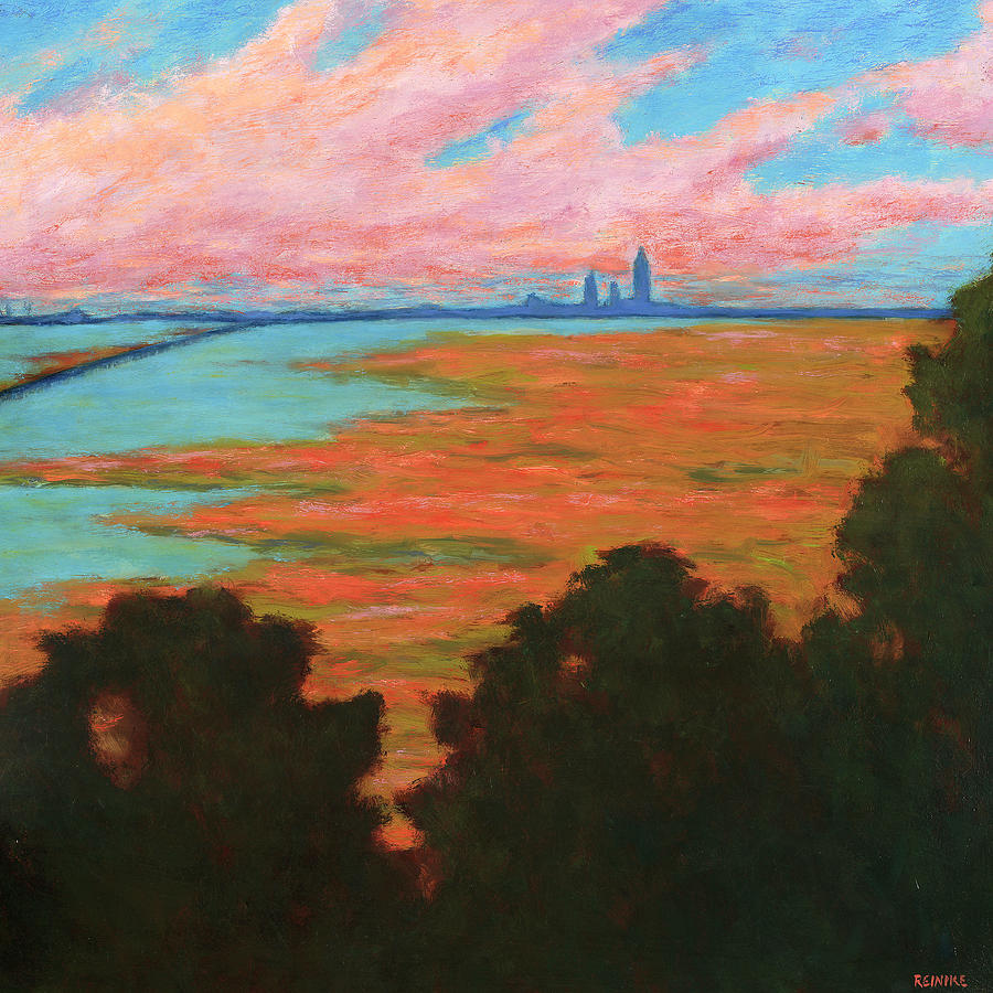Landscape Painting - Mobile Skyline from the Eastern Shorte by Vernon Reinike
