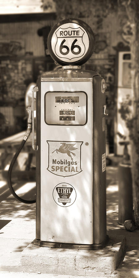 Route 66 Photograph - Mobilgas Special - Tokheim Pump  - Sepia by Mike McGlothlen