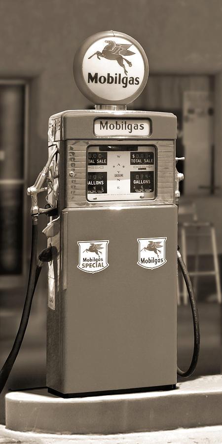 Black & White Photograph - Mobilgas - Wayne Double Gas Pump 2 by Mike McGlothlen