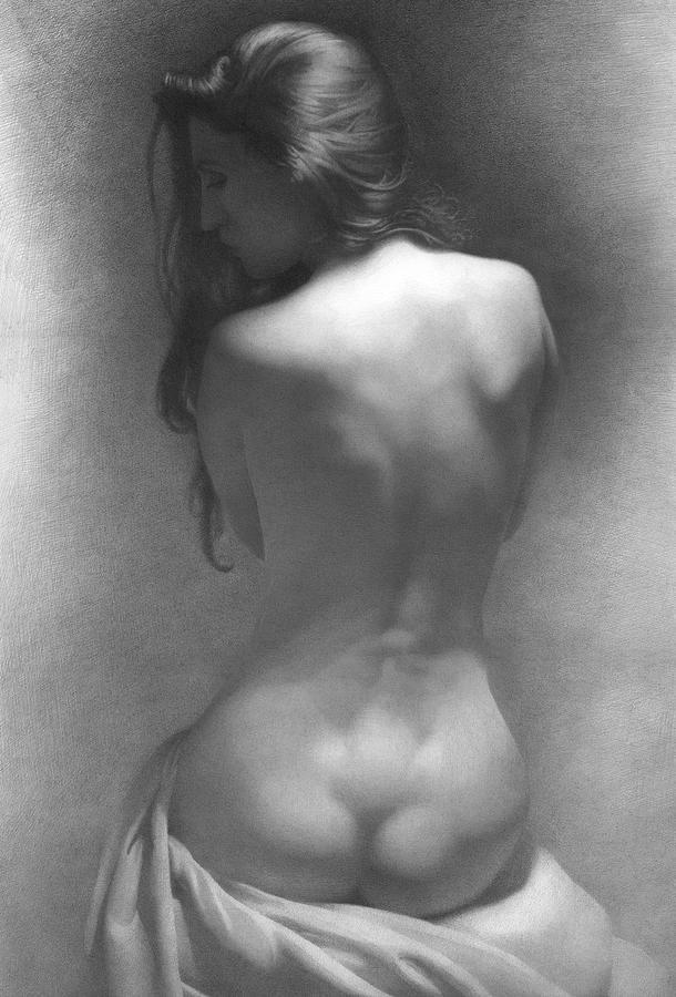 Model Against The Dark Background 2002 Drawing by Denis Chernov