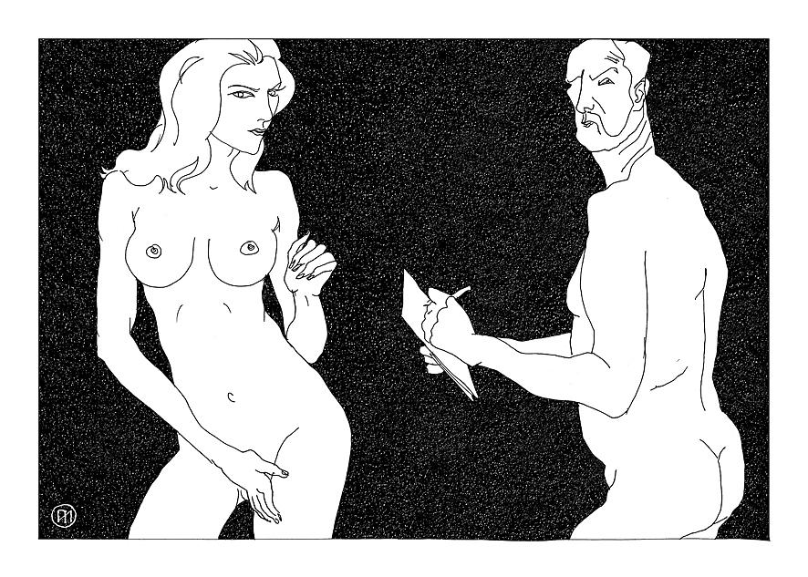 Figurative Digital Art - Model And Artist 19 by Leonid Petrushin
