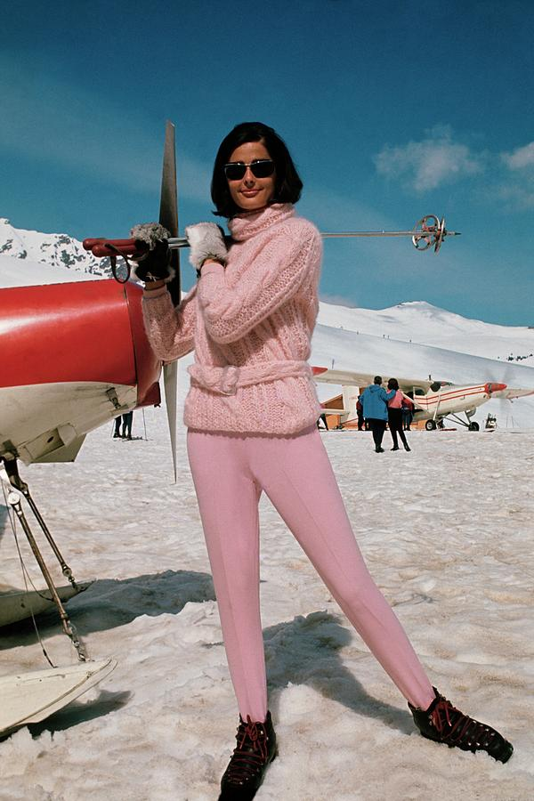 Model At A Ski Resort Wearing An Outfit By Petti Photograph by Frances McLaughlin-Gill
