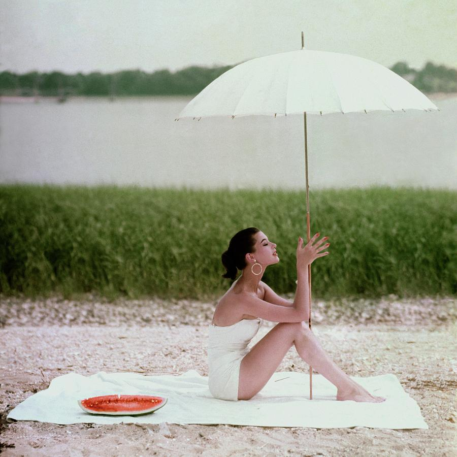 Model Barbara Mullen In A White Swimsuit Photograph by Frances McLaughlin-Gill