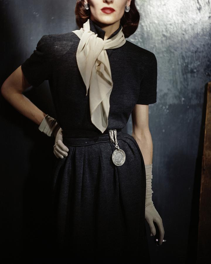 Model In A Gray Wool Dress Photograph by Frances McLaughlin-Gill