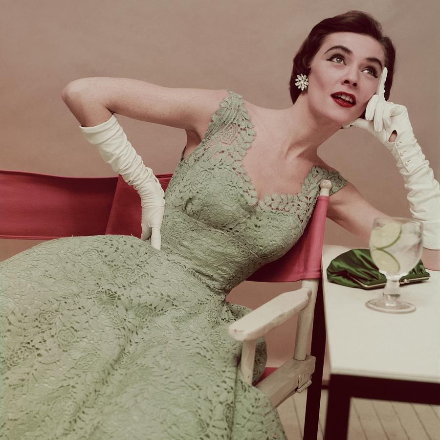 Model In A Green Lace Dress Photograph by Clifford Coffin; Frances McLaughlin-Gill