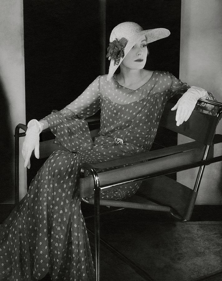 Fashion Photograph   Model In Chanel Dress Sitting In A Wassily Chair By  Edward Steichen