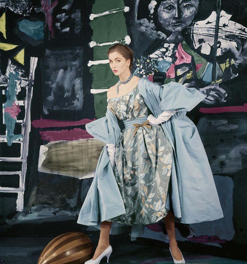 Fashion Photograph - Model In Paper Taffeta Dress by Henry Clarke