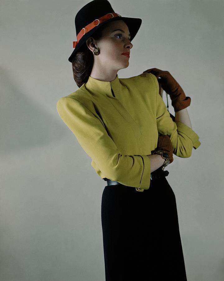 Model In Yellow Blouse And Black Skirt Photograph by Frances McLaughlin-Gill