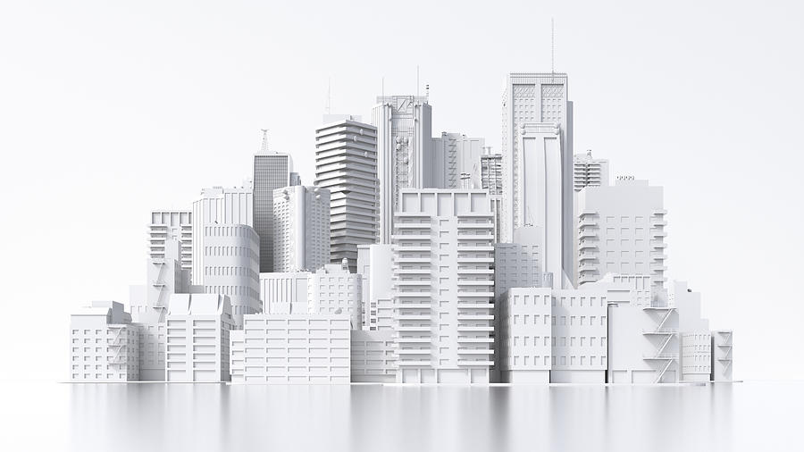 Model of a city, 3d rendering Drawing by Westend61