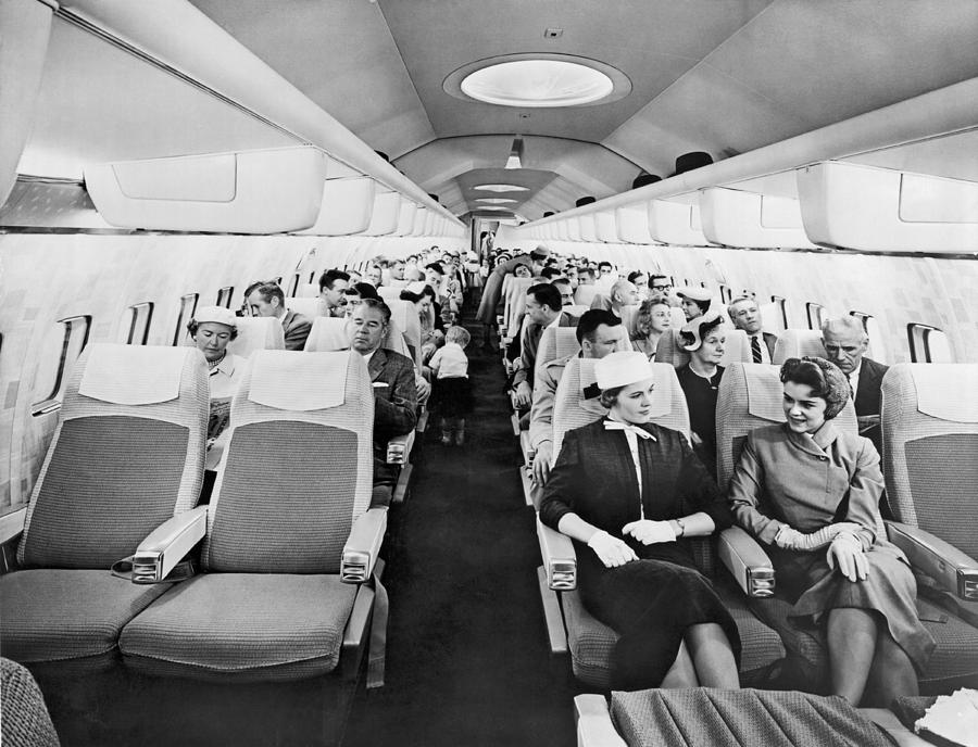 model of boeing 707 cabin photograph by underwood archives
