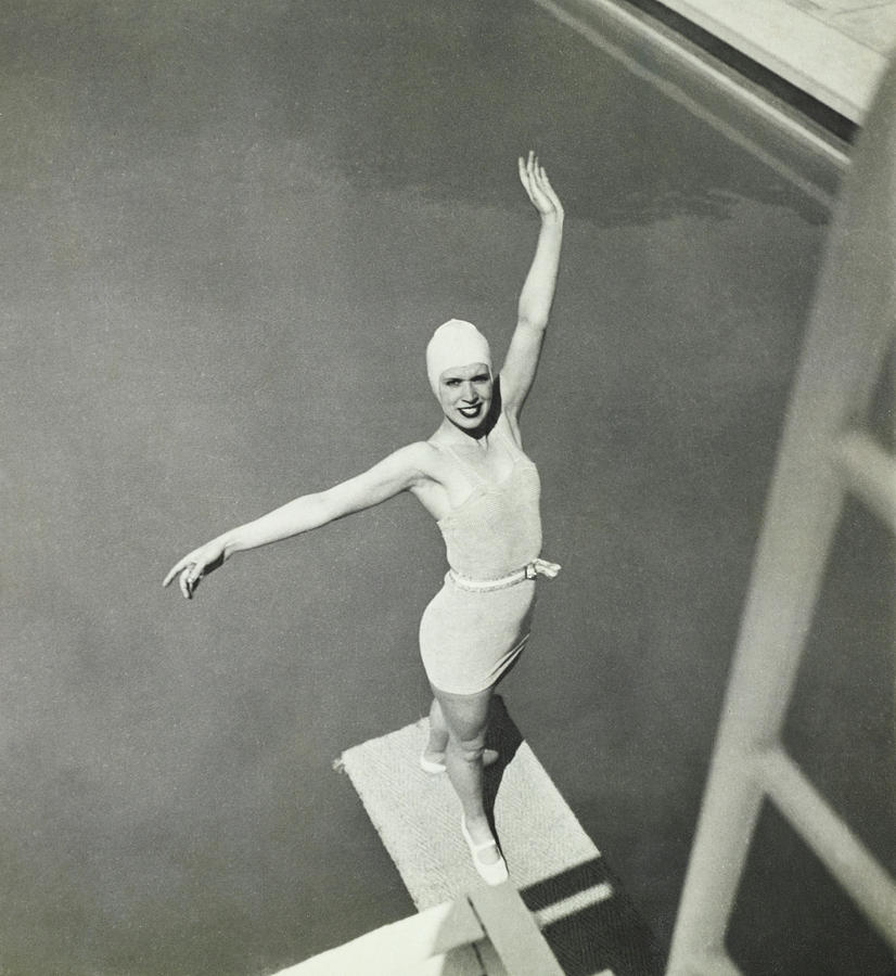 Model On A Diving Board In Bvd Swimsuit Photograph by George Hoyningen-Huene