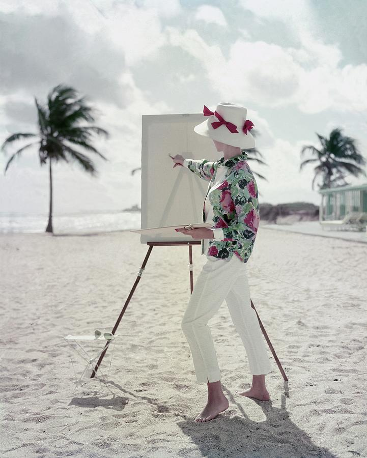 Model Standing On A Beach In Front Of An Easel Photograph by Frances McLaughlin-Gill