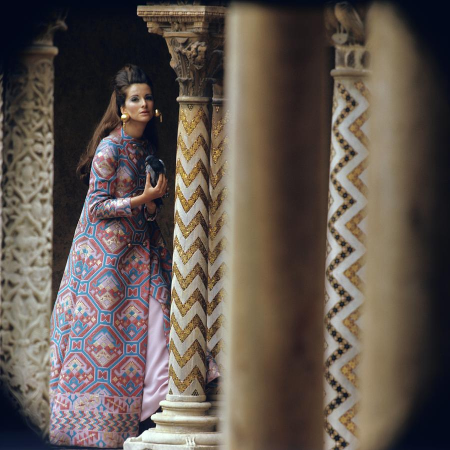 Model Stands Beside A Mosaic Column Wearing Photograph by Henry Clarke