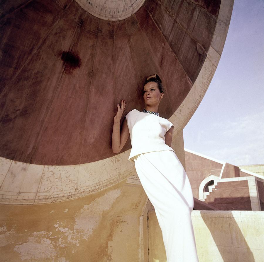 Model Veruschka Wearing A Two-piece Dress Photograph by Henry Clarke