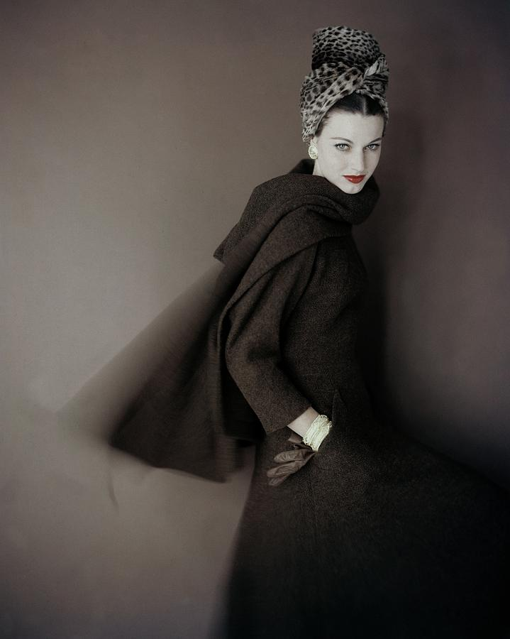Model Wearing A Brown Tweed Dress Photograph by Karen Radkai