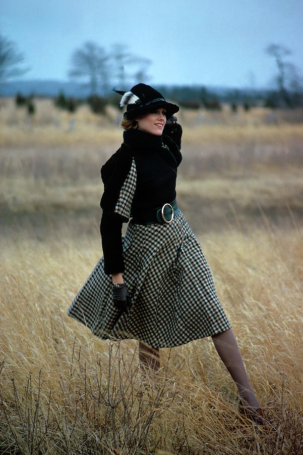 Model Wearing A Checked Skirt In A Field Photograph by William Connors