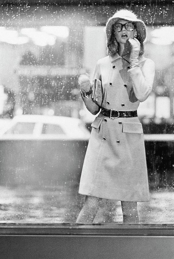 Model Wearing A David Crystal Coat Photograph by Kourken Pakchanian