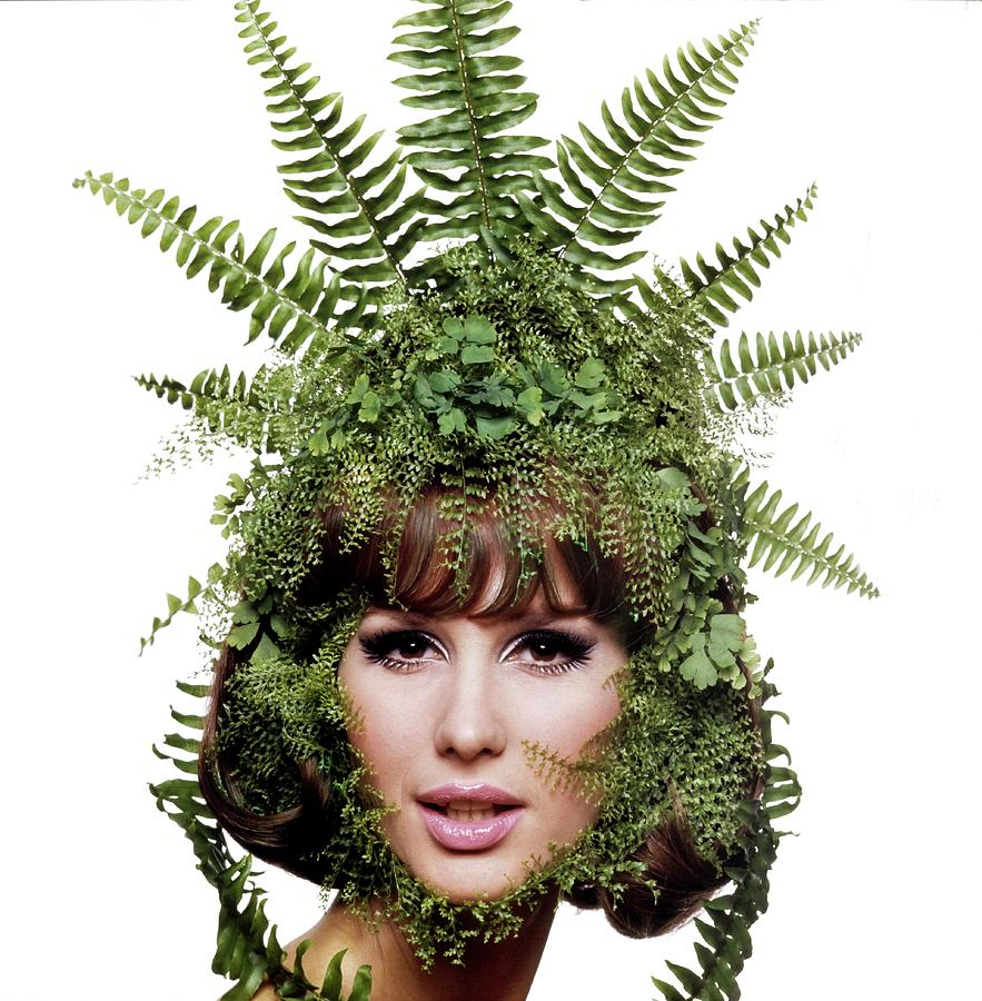 Model Wearing A Fern Headdress Photograph by Bert Stern