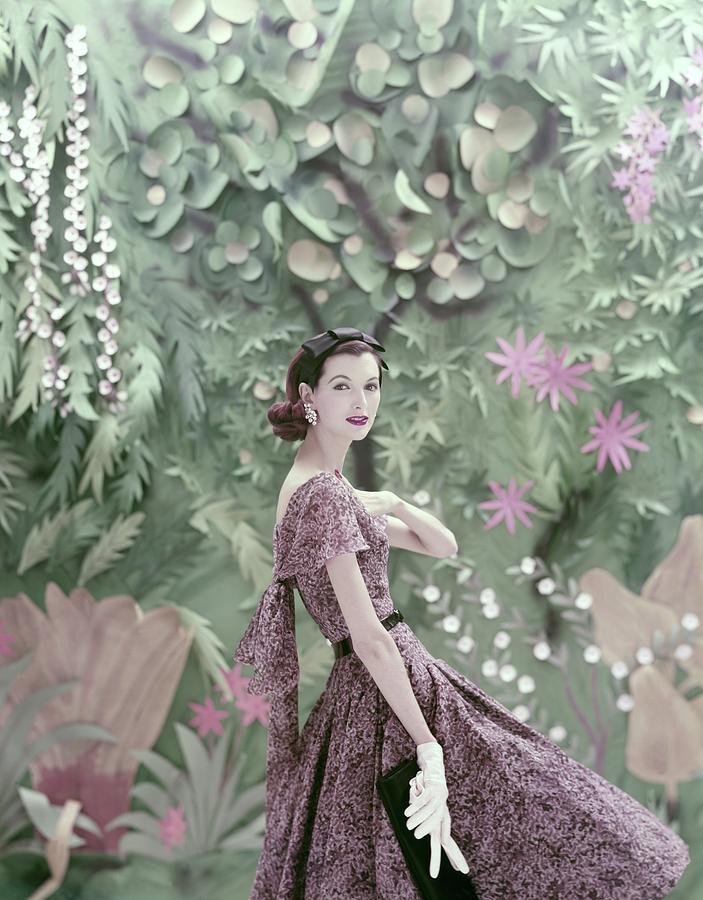 Model Wearing A Galanos Dress Photograph by Richard Rutledge