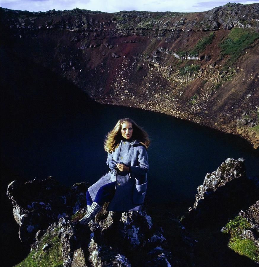 Fashion Photograph - Model Wearing A Gray Weatherbee Coat by John Cowan