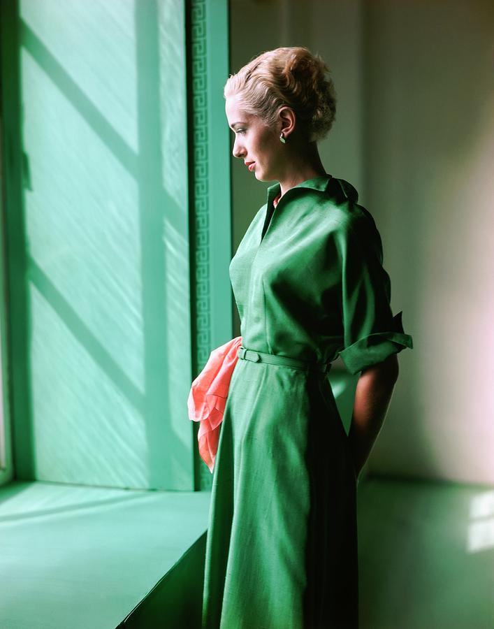 Model Wearing A Green Dress Photograph by Horst P. Horst