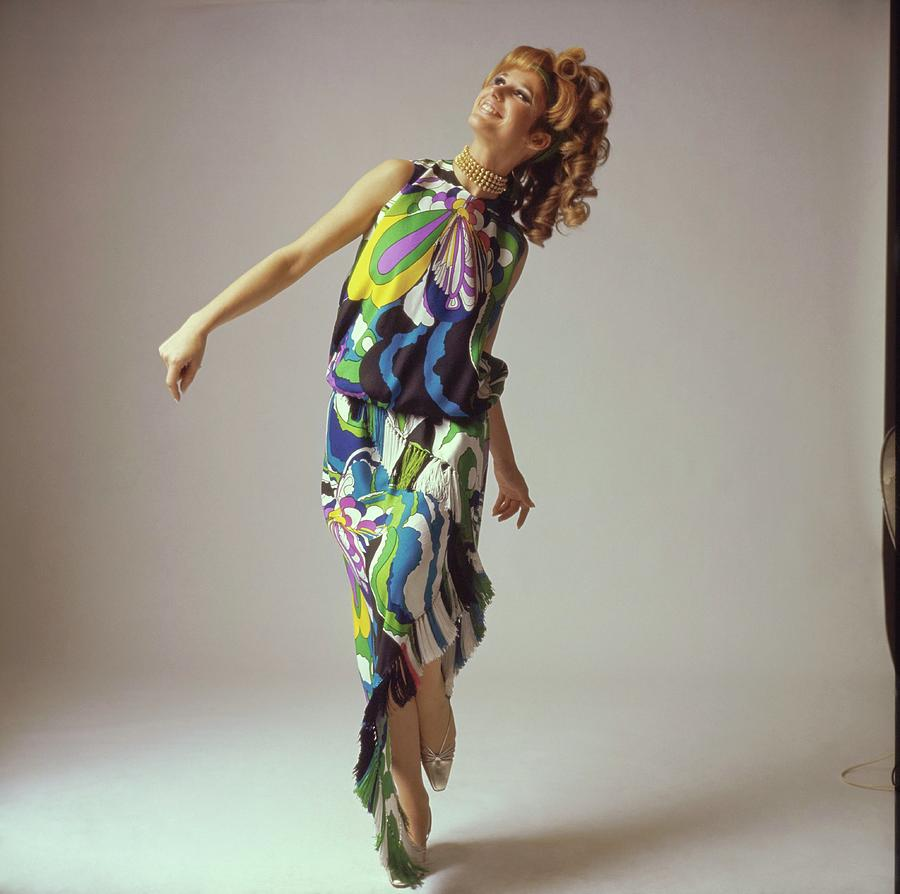 Accessories Photograph - Model Wearing A Lanvin Ensemble by Bert Stern