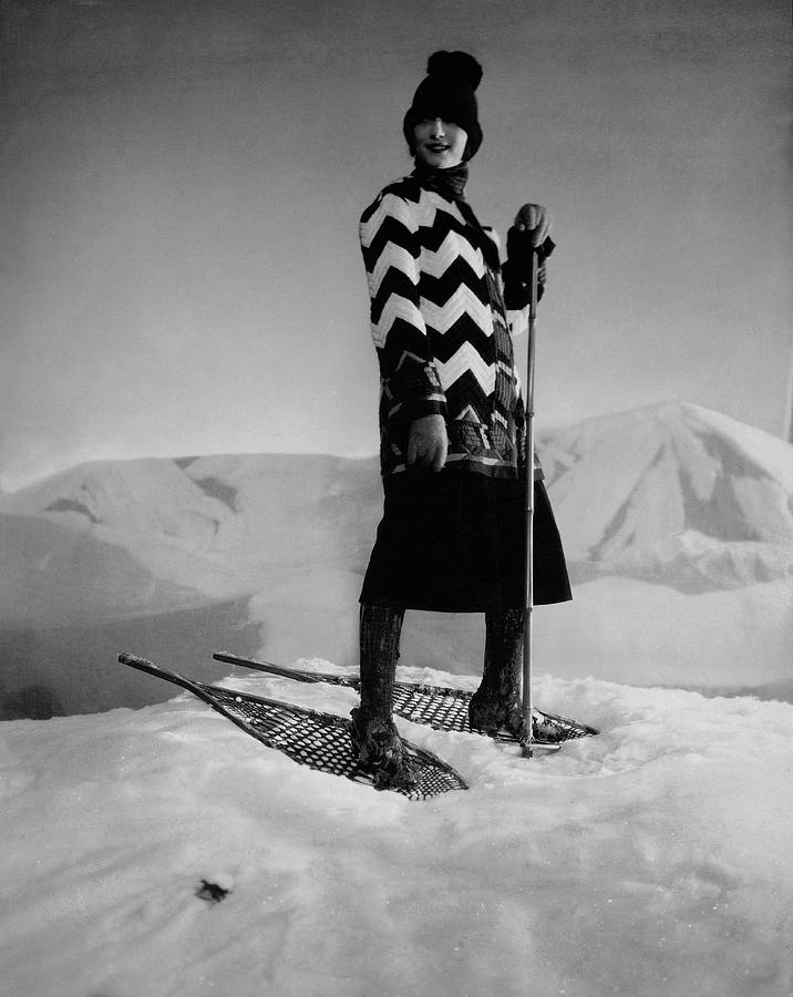 Model Wearing A Striped Sweater On Snow Photograph by Edward Steichen