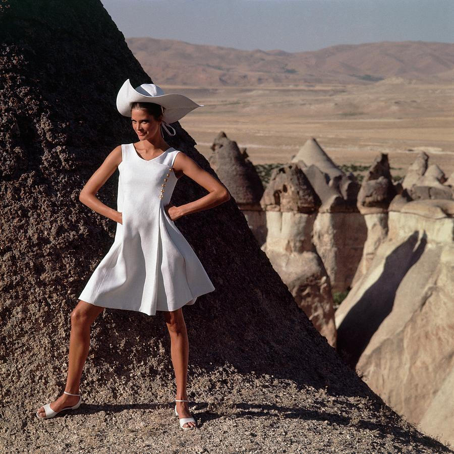 Model Wearing A White Dress By Chester Weinberg Photograph by Henry Clarke
