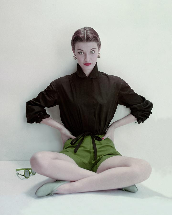 Model Wearing Black Blouse And Green Shorts Photograph by Frances McLaughlin-Gill
