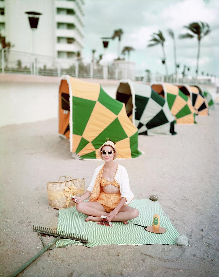 Model Wearing Cabana Swimwear On A Beach Photograph by Richard Rutledge