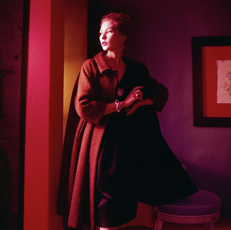 Model Wearing Coat In Shadow Photograph by Horst P. Horst
