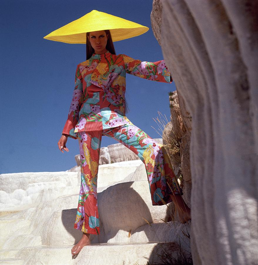 Model Wearing Floral Pants And Top By Bill Blass Photograph by Henry Clarke