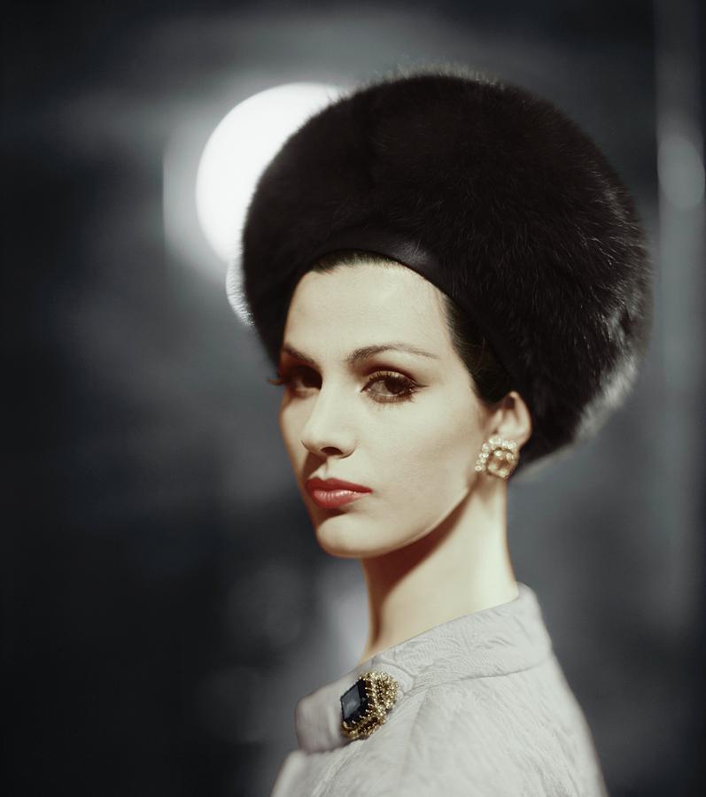 f84458ebefe Fashion Photograph - Model Wearing Halston Hat by Karen Radkai