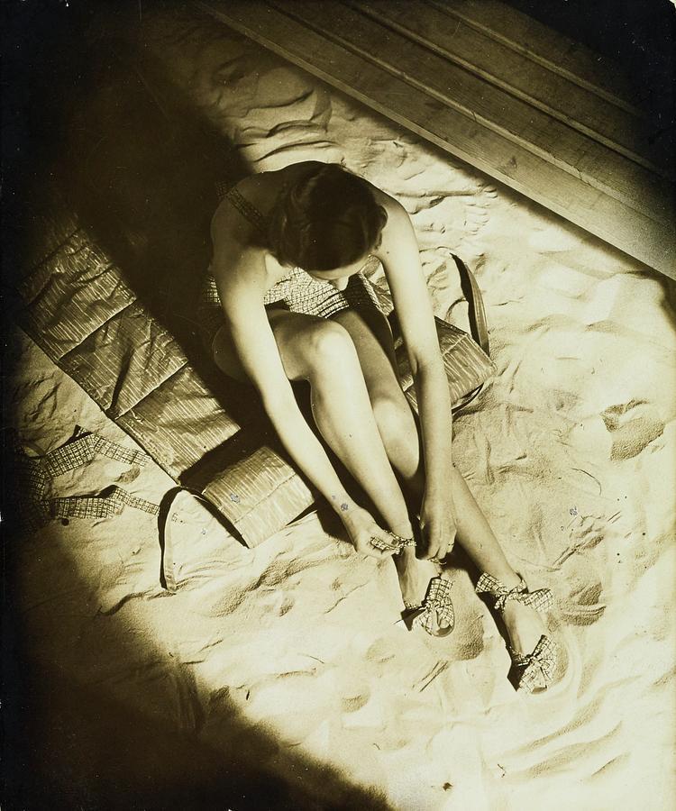 Model Wearing Miller Bathing Suit Photograph by Anton Bruehl