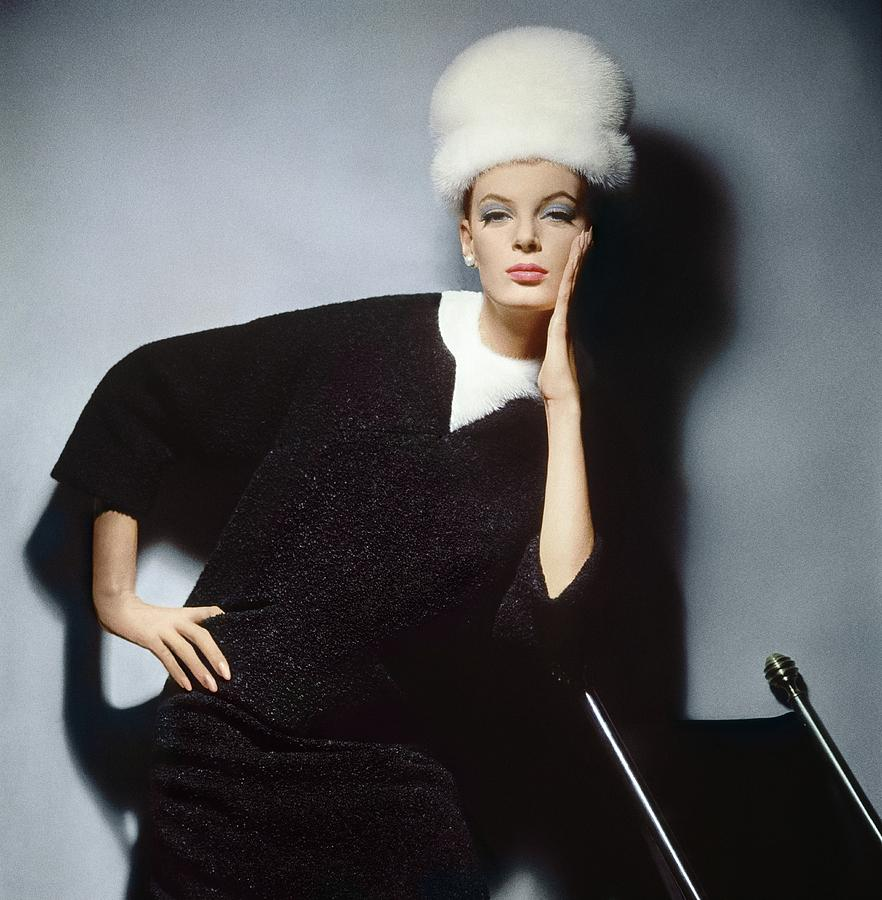 Model Wearing Mink Dress And Hat Photograph by Horst P. Horst