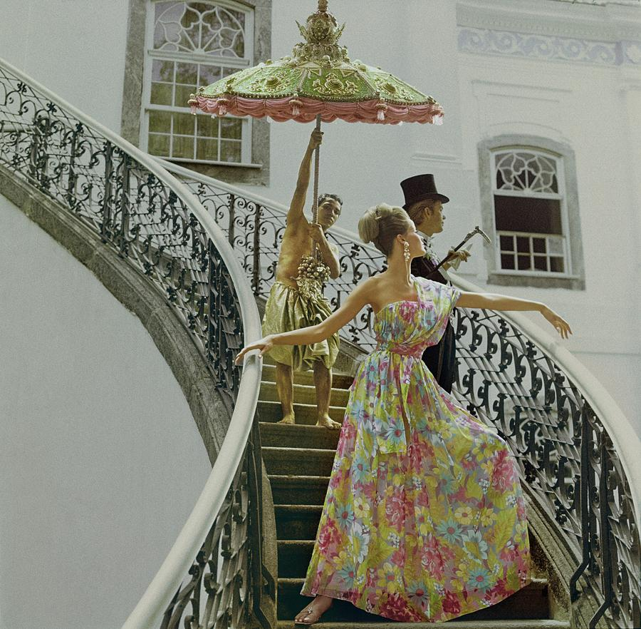 Model Wearing Nat Kaplan Dress On Staircase Photograph by Henry Clarke