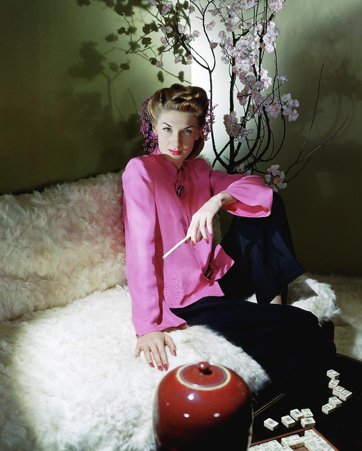 Model Wearing Pink Jacket Photograph by Horst P. Horst