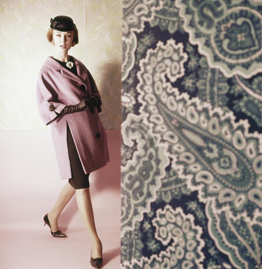 Model Wearing Purple Coat Photograph by Horst P. Horst