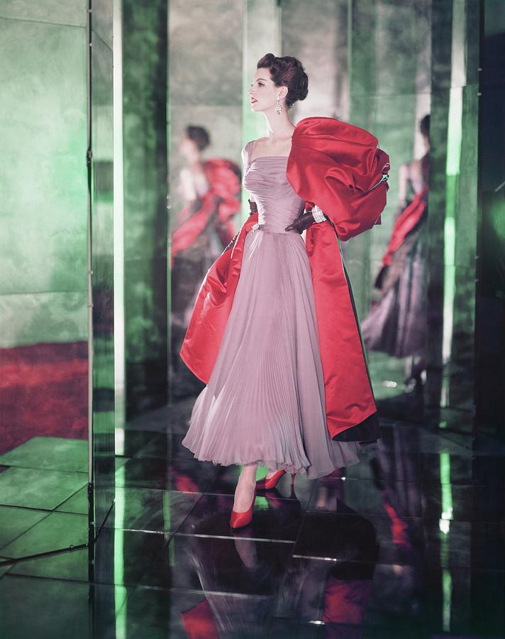 Model Wearing Purple Dress With Red Stole Photograph by Horst P. Horst