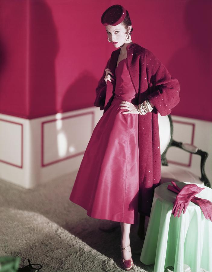 Model Wearing Red Dress By Nettie Rosenstein Photograph by Horst P. Horst